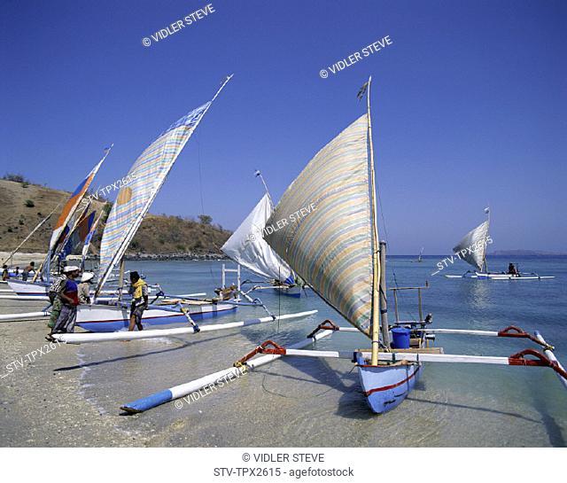 Beach, Boats, Holiday, Indonesia, Landmark, Lombok, Outrigger, Senggigi, Tourism, Travel, Vacation