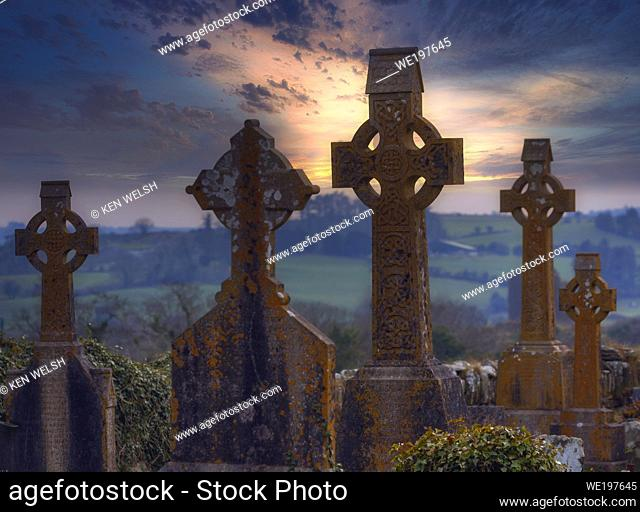 Christ Church (Church of Ireland), Kilmeen, Rossmore, County Cork, Republic of Ireland. Eire. Celtic crosses in the graveyard
