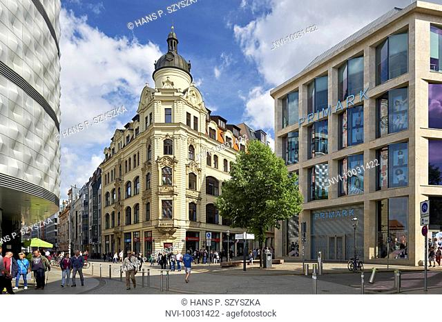 View from Wagnerplatz to Brühl and Hainstrasse in Leipzig, Saxony, Germany