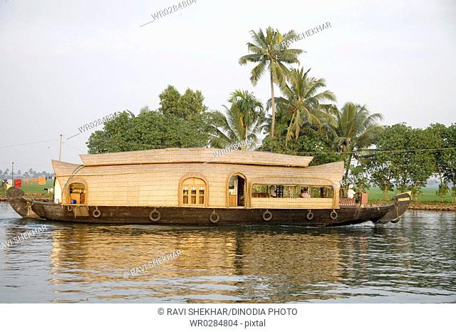Luxury houseboat and coconut trees in Backwaters , Alleppey , Kerala , India