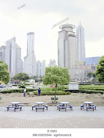 China, Shanghai, city opinion,  High-rises, park, seat groups,   Asia, city, city, skyline, skyscrapers, buildings, architecture, recreation area, green area