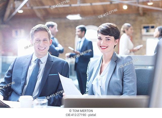 Portrait smiling business people in office