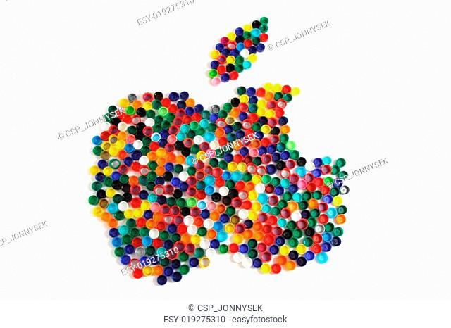 apple from the color plastic caps