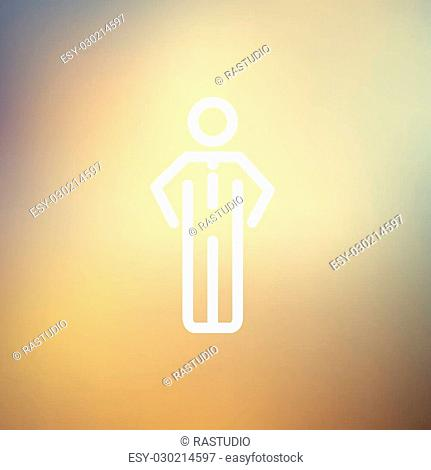 Man standing idea icon thin line for web and mobile, modern minimalistic flat design. Vector white icon on gradient mesh background