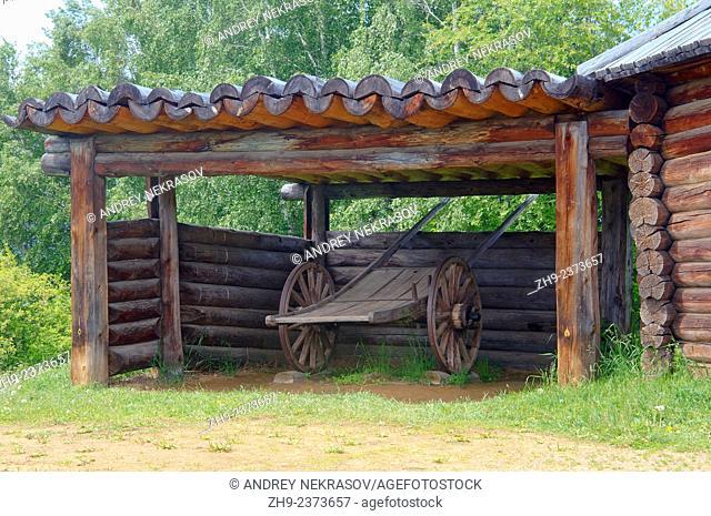 Buryat wooden bullock cart. Settlement Talzy, Irkutsk region, Baikal, Siberia, Russian Federation