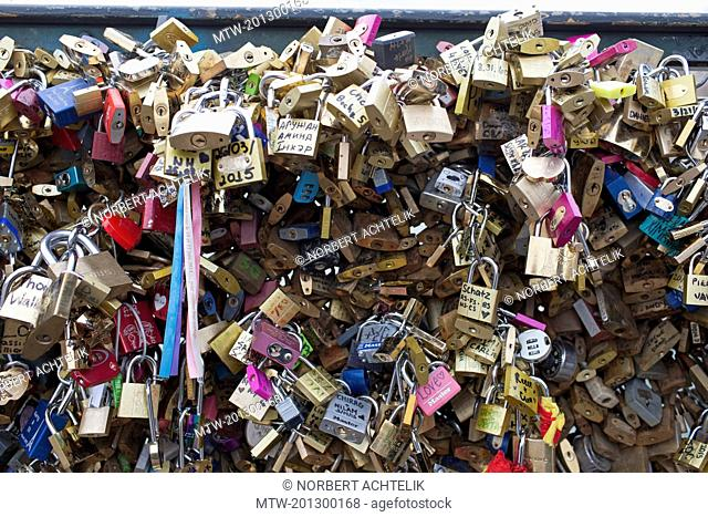 Love locks on Pont des Arts, Paris, France