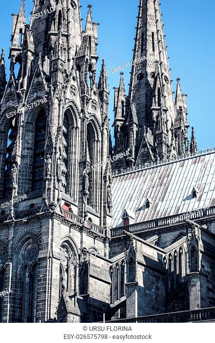 architectural detail of church Notre Dame de l`Assomption from Clermont ferrard