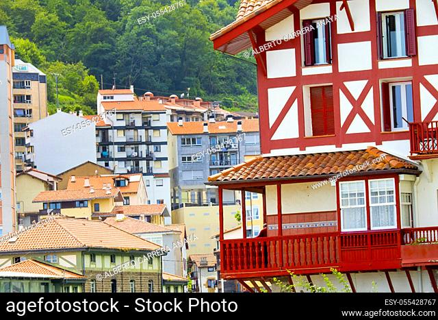 Typical Architecture, Old Town, Mutriku, Guipúzcoa, Basque Country, Spain, Europe