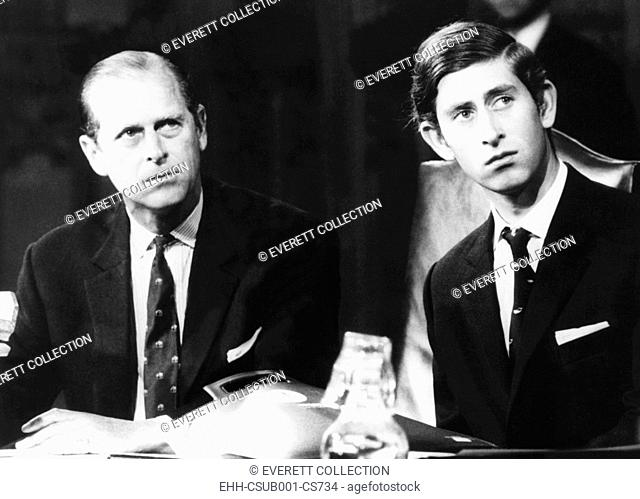 Prince Philip and his 21 year old son, Charles, the Prince of Wales. Nov. 9. 1970. They attended the final session of 'The Countryside of 1970