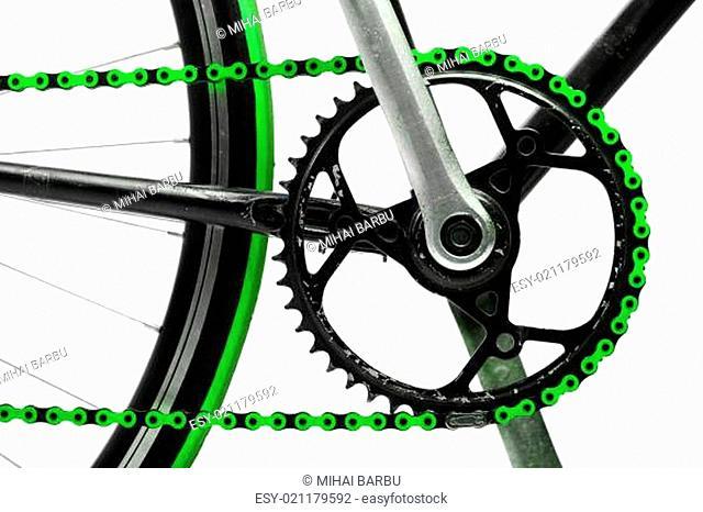 Green bicycle chain