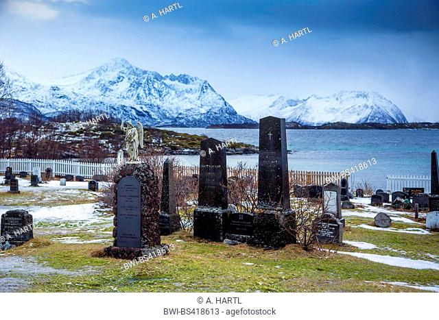 graveyard of Skaland at the fiord coast, Norway, Fylke Troms