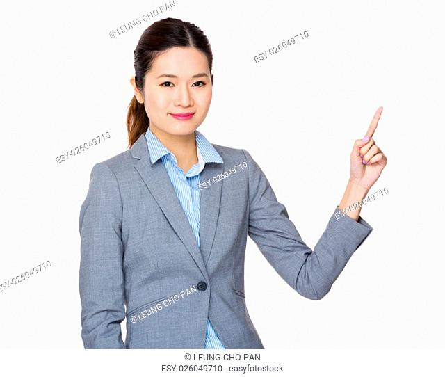 Asian Young Businesswoman with finger point up