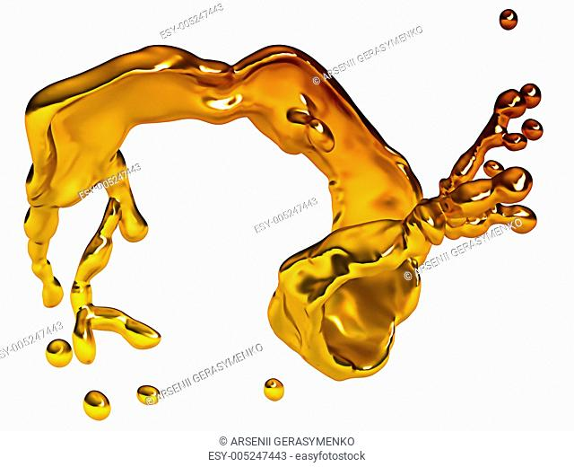 Melted gold splash with drops isolated