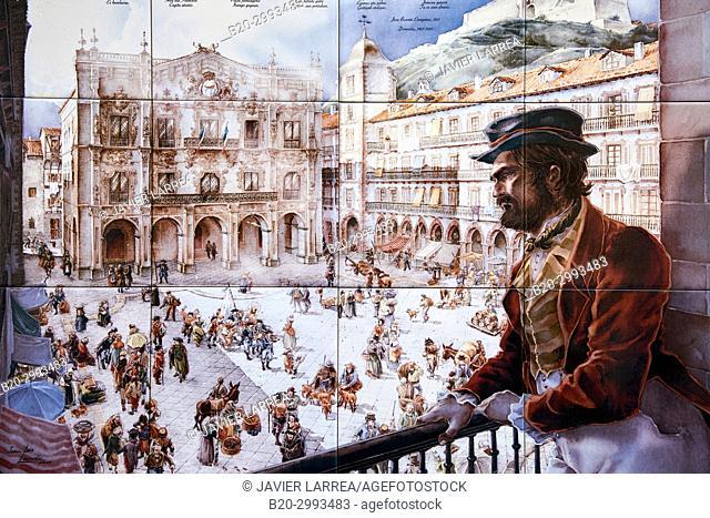 Mosaic, Juan Luis Landa, Plaza de La Constitución, Old Town, Donostia, San Sebastian, Gipuzkoa, Basque Country, Spain, Europe