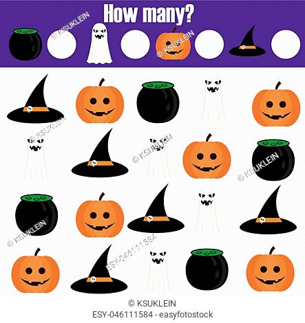 Counting educational children game, kids activity sheet. How many objects task. Learning mathematics, numbers, addition. Halloween theme