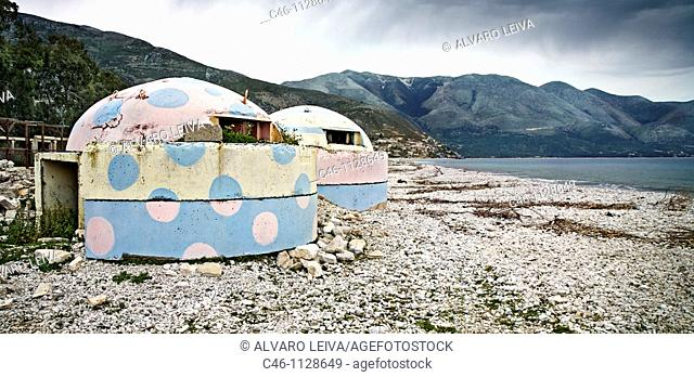 Beach with Bunkers. Borsh. Albania