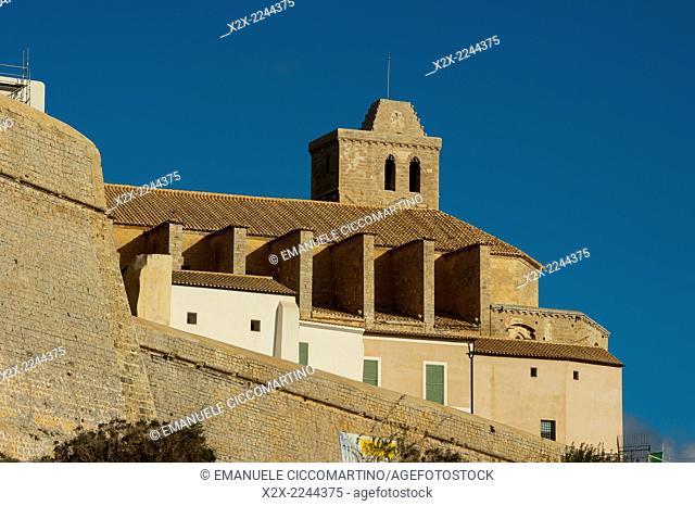 Ibiza Cathedral, Old Town, Dalt Vila, Eivissa, Ibiza, Balearic Islands, Spain, Mediterranean, Europe