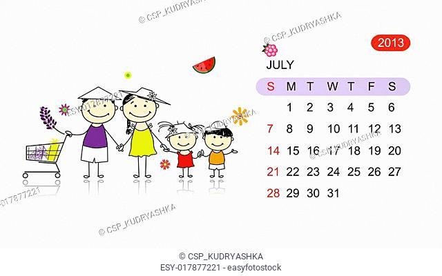 Vector calendar 2013. Family illustration for your design