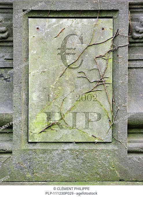 Symbolic grave of dead European euro due to crisis