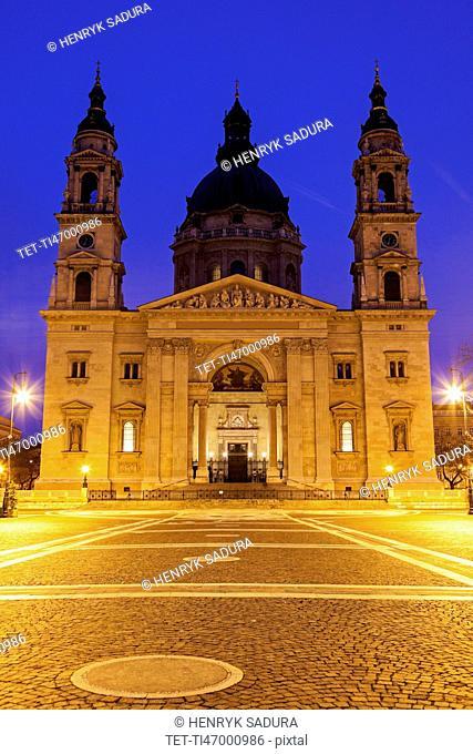 Saint Stephen's Basilica and illuminated square