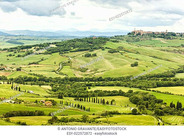 View of the town of Pienza with the typical Tuscan hills from locality of Monticchiello