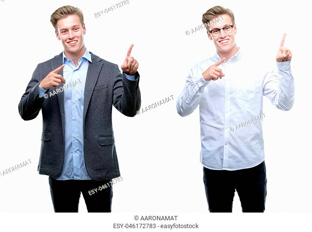 Young handsome blond business man wearing different outfits smiling and looking at the camera pointing with two hands and fingers to the side