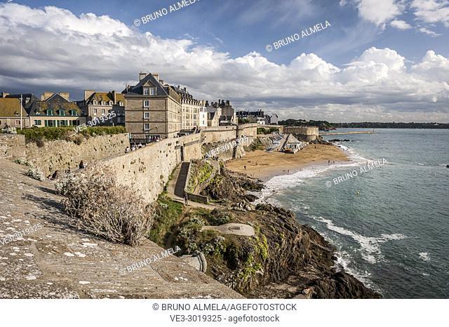 View of Bon Secours beach in Saint-Malo (Bretagne, France)