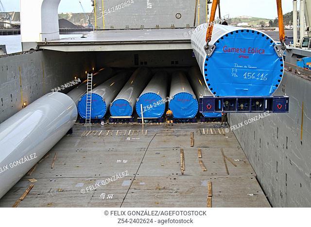 Loading eolic towers at Aviles harbor, Asturias, Spain, Europe