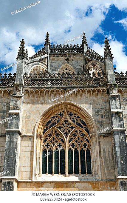 Gothic monastery of Santa Maria de Vitoria, aka Batalha monastery (14th - 16th century), World Heritage of UNESCO, Batalha, Leiria, Portugal, Europe
