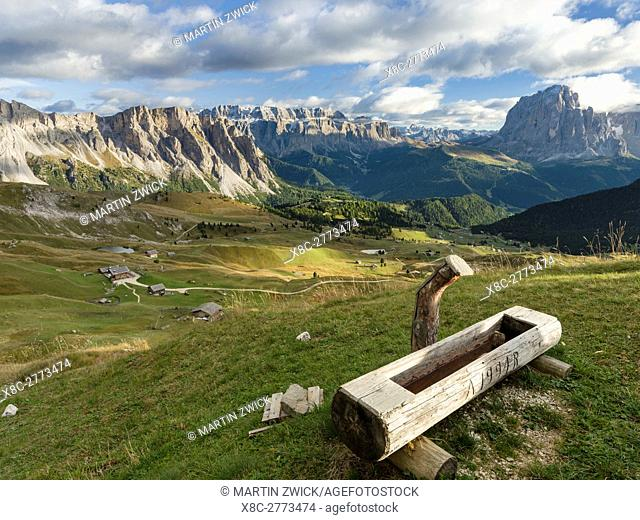 The Dolomites in the valley of Groeden ( Val Gardena, Gheirdeina) in South Tyrol - Alto Adige, Aschgler Alpe in the foreground