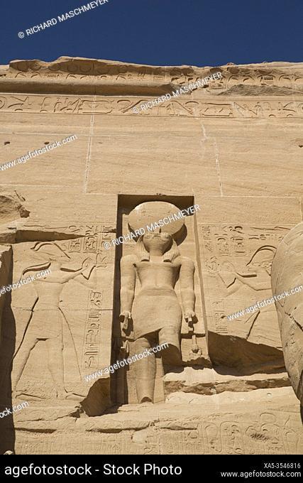 Statue of the God Re Harakhte, Ramses II Temple, UNESCO World Heritage Site, Abu Simbel, Egypt