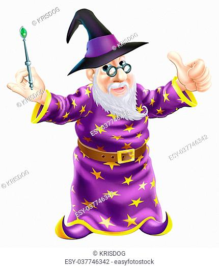 Illustration of a happy cartoon wizard character holding a wand and giving a thumbs up