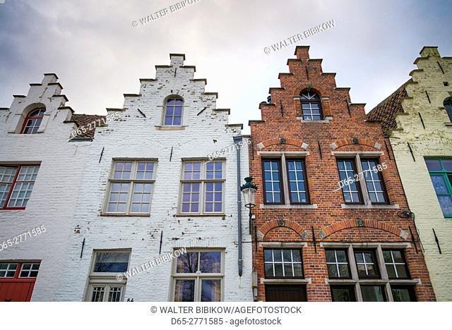 Belgium, Bruges, canalside building detail