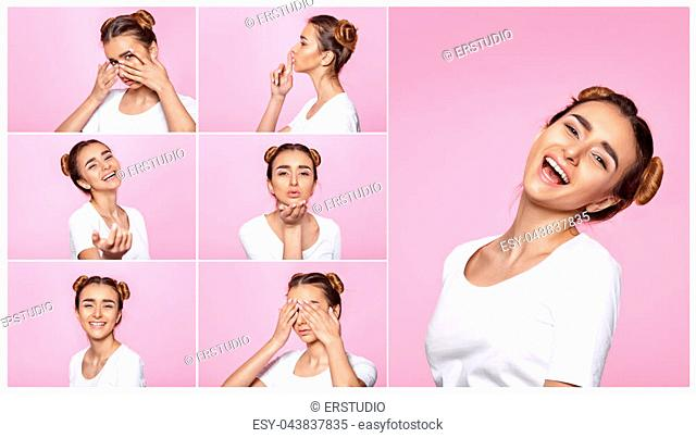 set of portrait of beautiful young woman with different emotions on pink background