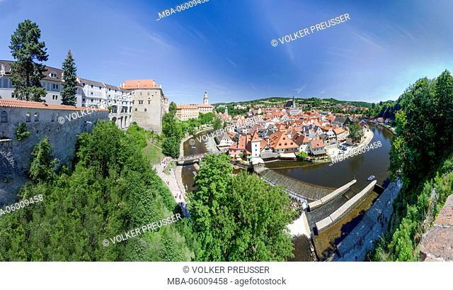 Moldavia with canoeists, castle, St. Jobst church, Old Town and church St. Veit, Czechia, Jihocesky kraj (South Bohemia region)