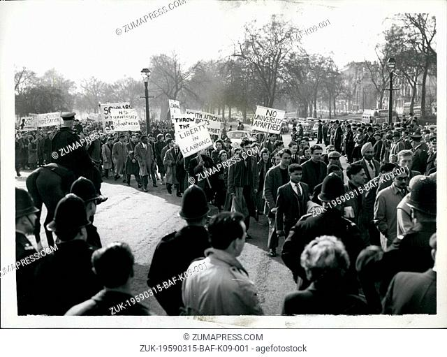Mar. 15, 1959 - 15-3-59 Student?¢'Ǩ'Ñ¢s rally in London ?¢'Ǩ'Äú Thousands of students from Universities in all parts of the country