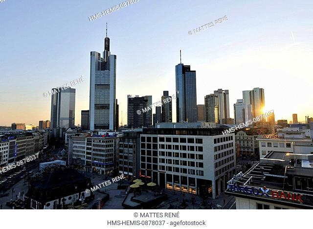 Germany, Hesse, Frankfurt am Main, Hauptwache, the Skyline with skyscrapers