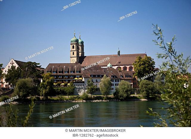 View across the Rhine River to Fridolin Minster, Bad Saeckingen, Waldshut district, Baden-Wuerttemberg, Germany, Europe