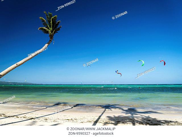 bolabog kite surfing beach in tropical paradise boracay island philippines