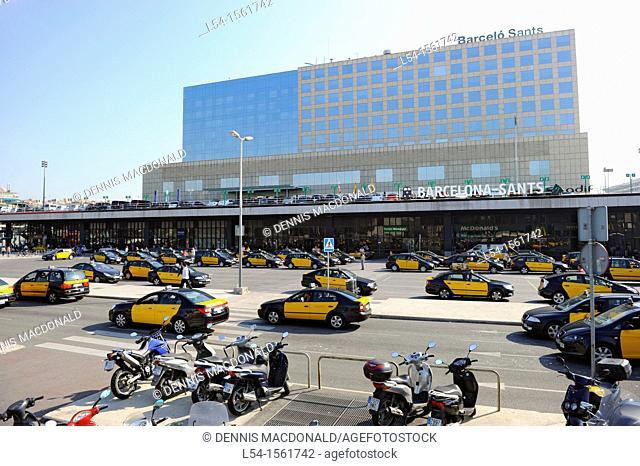 Sants Metro Station Taxis Barcelona Spain Europe Catalonia