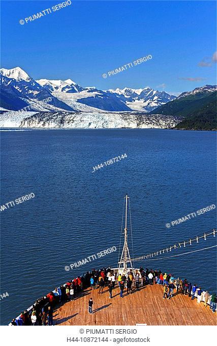 Alaska, USA, College Fjord, northern sector, Prince William Sound, tidewater glaciers, glaciers, terminate in water, cruise ship, passengers, Harvard Glacier