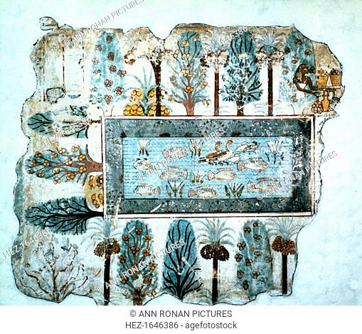 A garden pool: fragment of wall painting, Egyptian, 18th Dynasty, c1350 BC. Tomb painting of a pool full of ducks, lotus flowers and tilapia fish; papyrus grows...