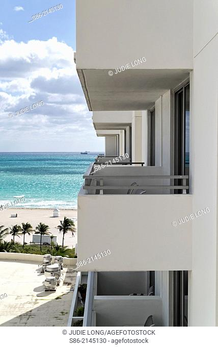 Looking at a Row of Balconies and the Beach at South Beach, Miami Beach, FLorida, USA