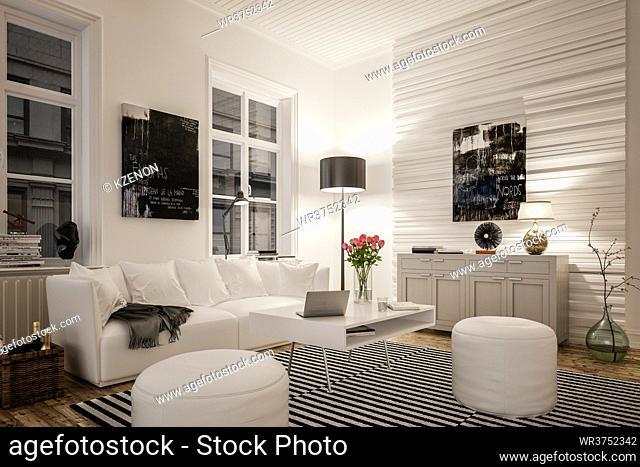 Interior of modern living room with illuminated lamp