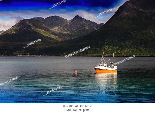 Norway ship near fjord landscape background hd