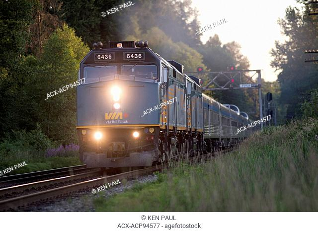 The Canadian, VIA Rail train number two through Burnaby, British Columbia, Canada