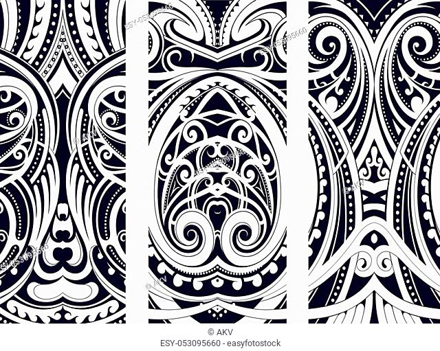 Set of Maori style ornaments. Ethnic themes can be used as body tattoo or ethnic backdrop