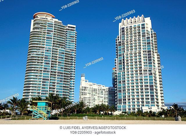 Tall buildings in Miami Beach, Florida, USA