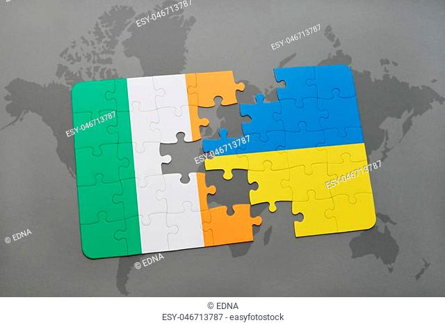 puzzle with the national flag of ireland and ukraine on a world map background. 3D illustration