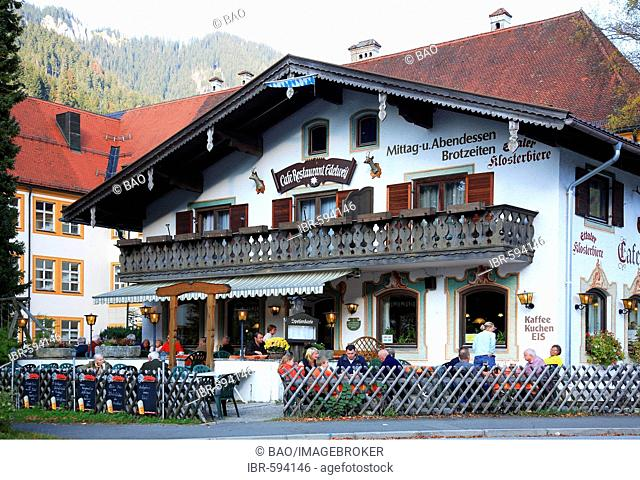 Edelweiss Inn near the Baroque Benedictine Ettal Abbey, County Garmisch-Partenkirchen, Bavaria, Germany, Europe